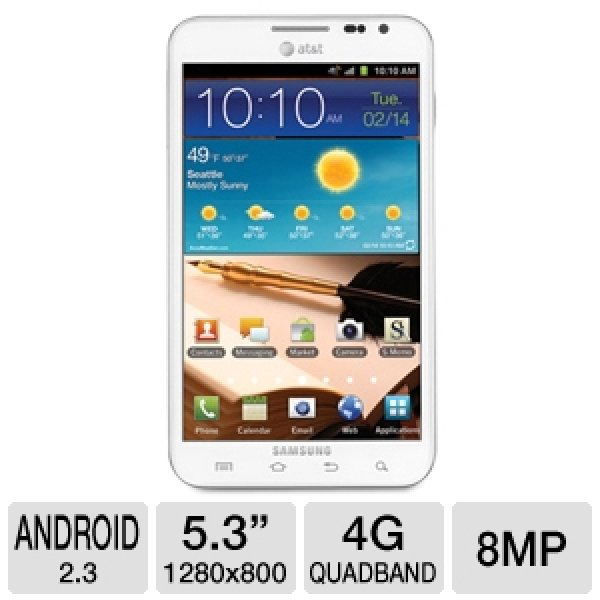 Samsung Galaxy Note I717 Unlocked GSM Cell Phone - 4G, 5.3